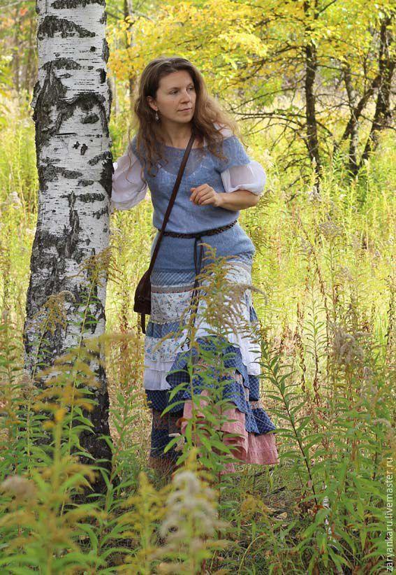 Купить Длинная юбка Вечерняя заря - голубой, длинная, переход цвета, летние краски