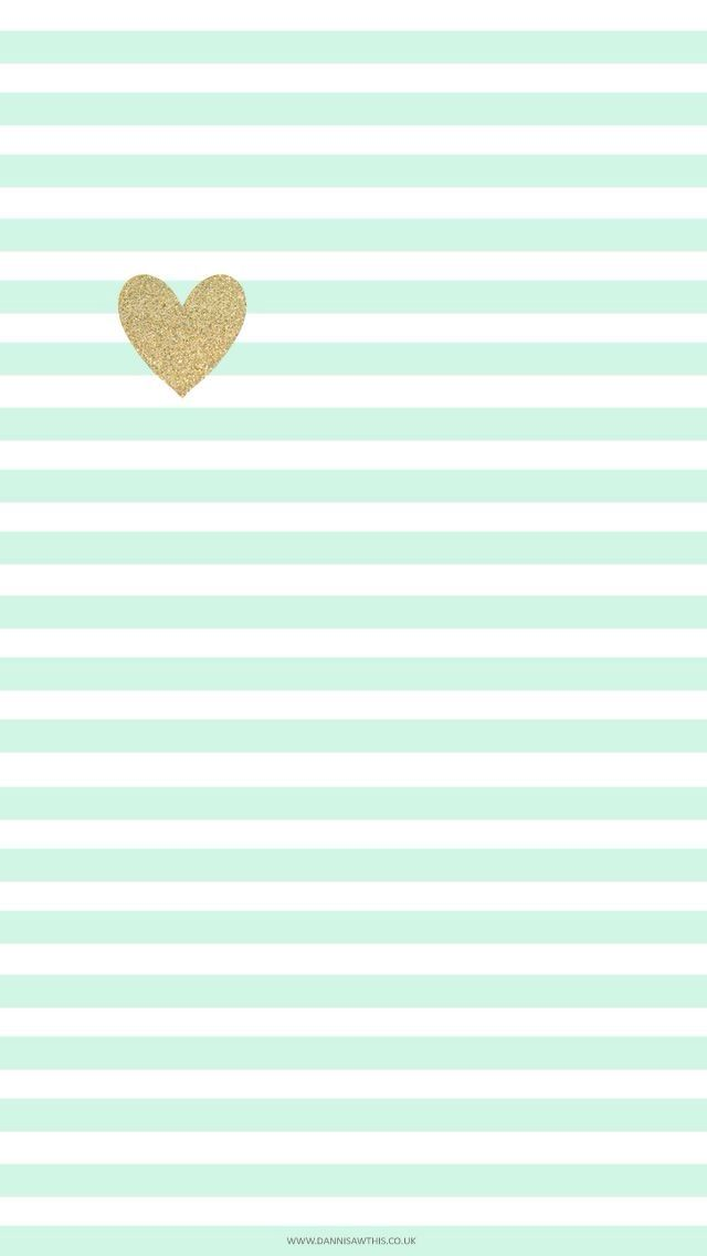Mint green stripes and gold heart