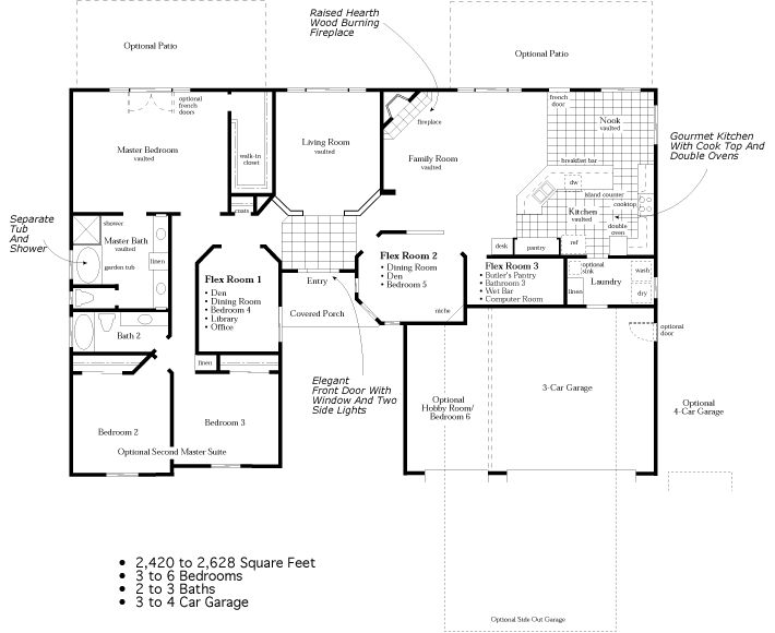 4 bedroom ranch floor plans to 2 628 square feet 3 for 4 car garage square footage