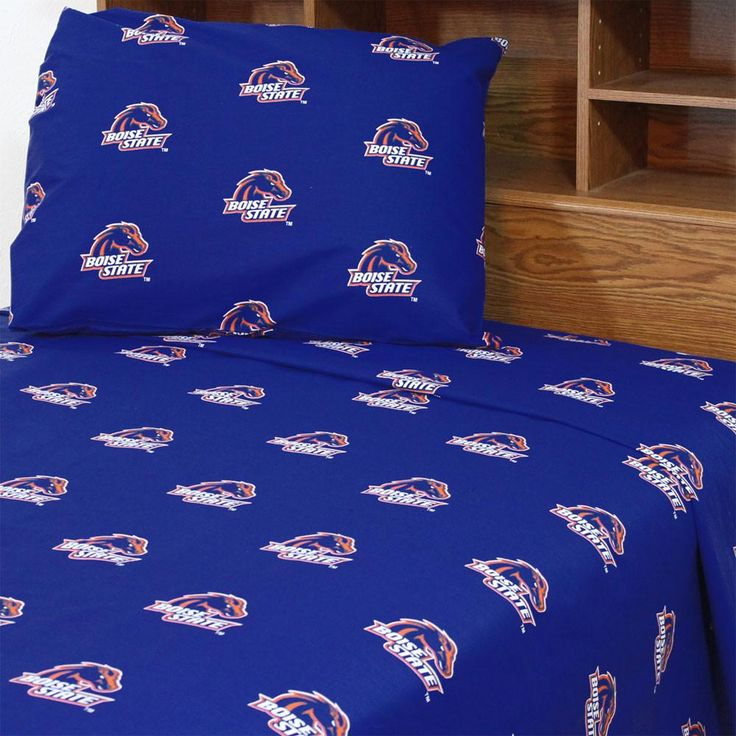 Boise State Broncos Bed Sheet Set Collegiate Blue Bedding: Queen