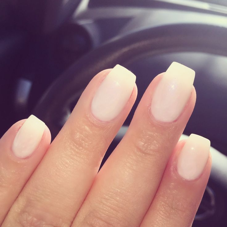 Short coffin shaped gel nails .. color is opi funny bunny