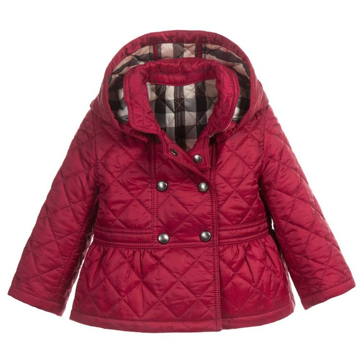Burberry Baby Girls Dark Pink Quilted coat with Detachable Hood at Childrensalon.com