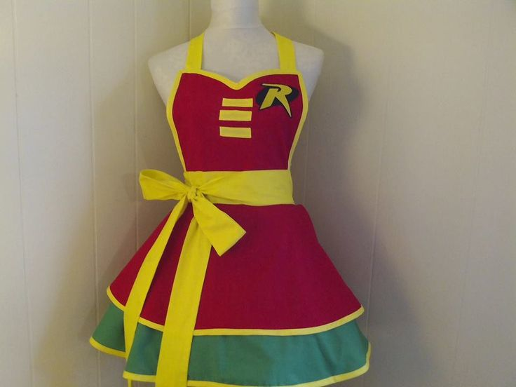 Robin Inspired Womens Cosplay Costume Retro Rockabilly Pinup Apron --FEATURED ON BUZZFEED by JamakurasCreations on Etsy