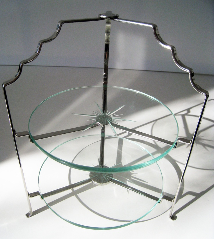 vintage staybright stainless steel, art deco cake stand