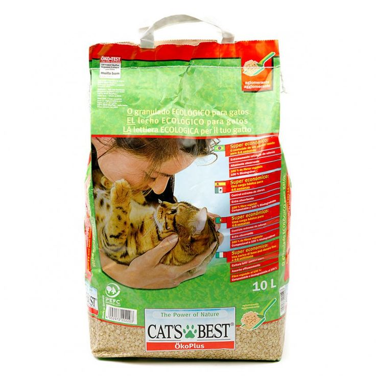 Lecho Sanitario para Gatos Cat's Best Oko Plus 10 Litros-Verde
