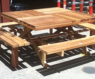 Square Redwood Picknick Table tutorial