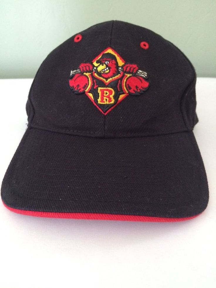 Rochester Red Wings Adjustable Velcro Minor League Baseball Cap Hat Black Red #FortySeven