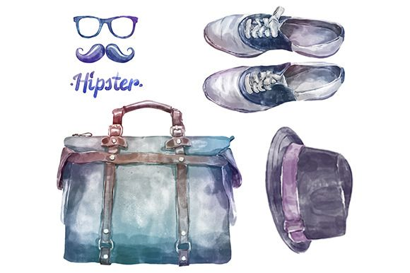 Watercolor hipster clothes2 (vector) by Krol on @creativemarket