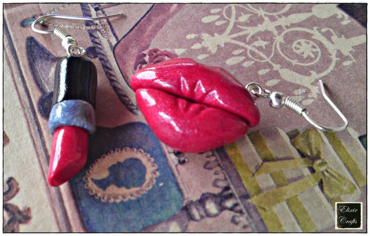 lips & lipstick polymer clay earrings
