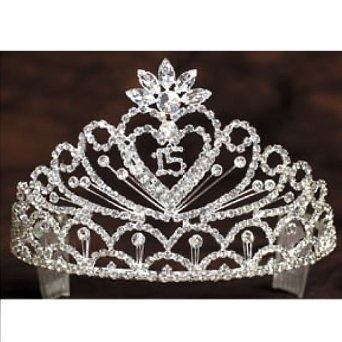 Angels Garment Girls Crystal Stoned Heart 15 Quinceanera Pageant Tiara -- 16% DISCOUNT for a limited time!