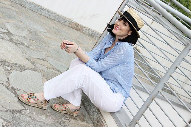 Pantaloni lino bianchi a palazzo terranova camicia estate 2016