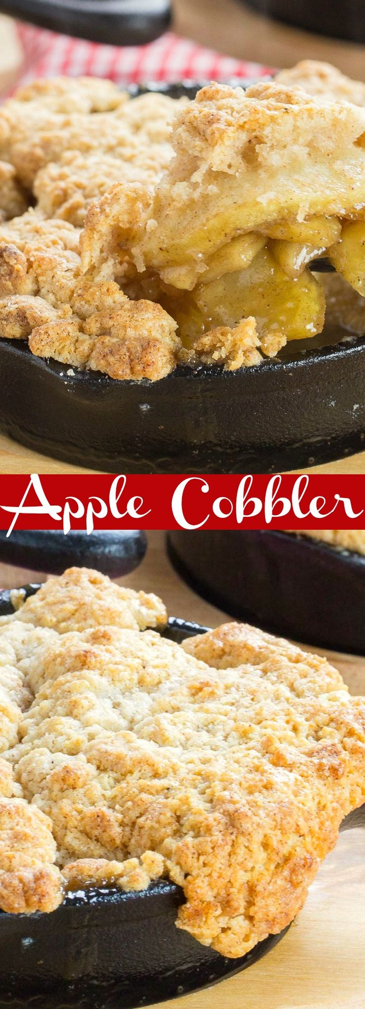 This Apple Cobbler recipe has a rich, savoury apple filling topped with a crisp, crunchy biscuit crust.