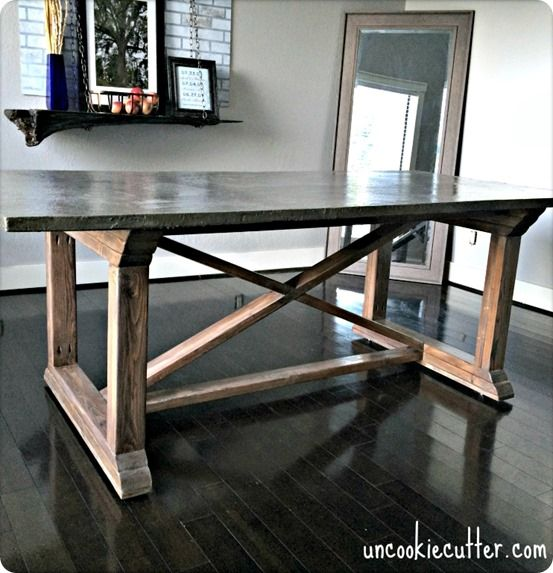 DIY Furniture | Concrete Dining Table ~ Get the free building plans for this beautiful x-base dining table with a REAL concrete tabletop!