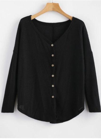 Button Up Drop Shoulder V Neck Cardigan, Drop Shoulder Cardigan Outfit Pattern