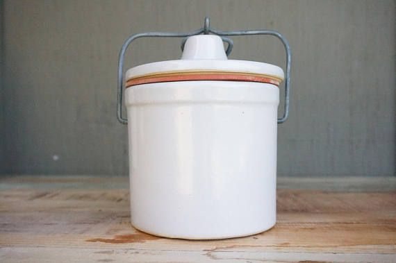 Antique crock // Antique Stoneware Crock // Lidded crock //