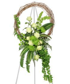 grapevine wreath flower arrangements | ... GREEN INSPIRATIONS Funeral Wreath | Sympathy | Flower Shop Network