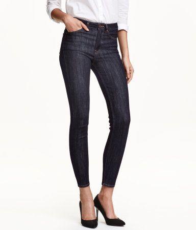 5-pocket, ankle-length jeans in stretch denim with a high waist and slim legs. Dark blue denim. | H&M Denim