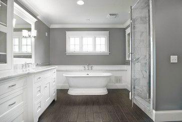 faux wood tile, gray walls, marble tiles in shower but black/wood vanity Gorgeous Master Bath - traditional - bathroom - cincinnati - Michaelson Homes LLC