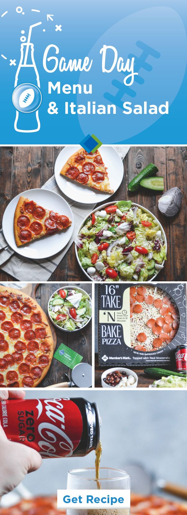 For a game-winning team, check out Member's Mark Take & Bake Pepperoni Pizza, Coca-Cola® Zero Sugar, and this Italian Salad recipe! From the easy party prep to the crowd-pleasing flavors, everything about this game day menu will have you cheering—especially since you can find all the tasty entertaining essentials you'll need at Sam's Club!