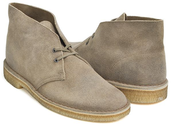 Clarks Desert Boots Taupe Distressed