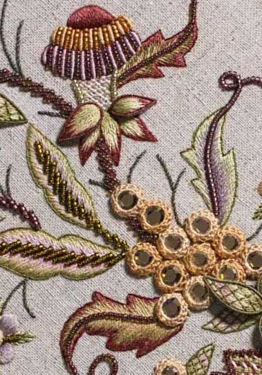 Detail of Late harvest project from the pages of Crewel Intentions: Fresh ideas for Jacobean embroidery by Hazel Blomkamp