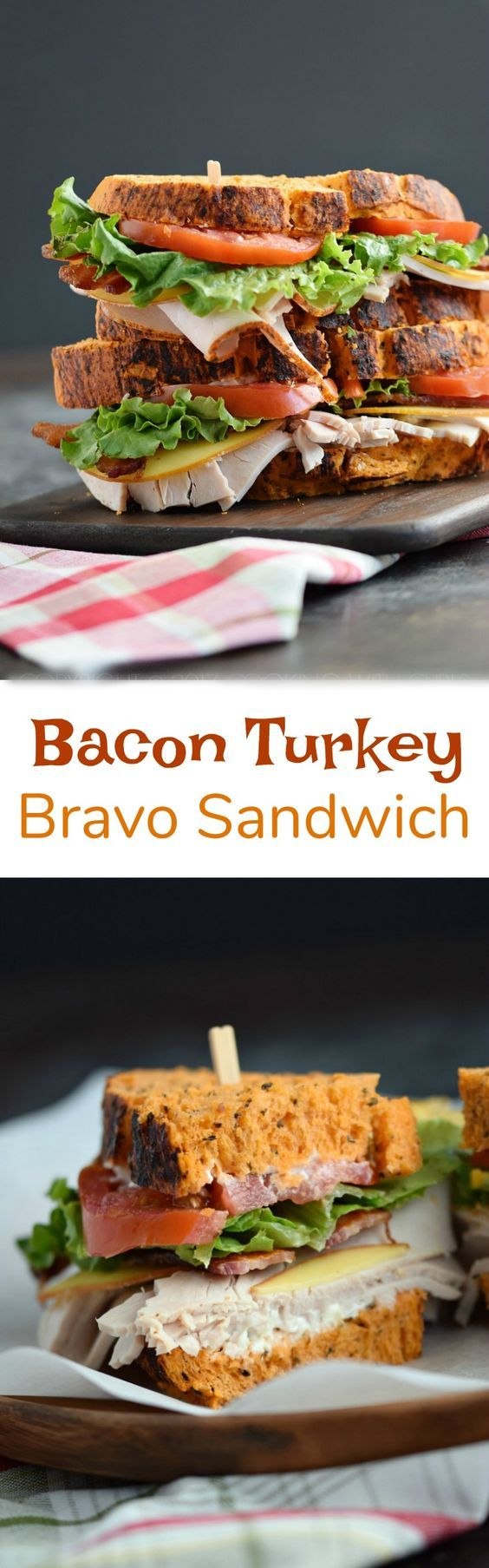 Bacon Turkey Bravo Sandwich on Tomato Basil Bread with crispy bacon, Gouda cheese, sliced turkey, lettuce, and tomato is perfect for just about any meal!