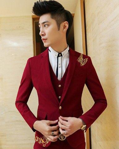 Aliexpress.com: Comprar 2015 oro bordadas Ternos Masculino rojo azul trajes de negocios hombre Americanas diseñador Mens Blazer moda superior prendas de vestir exteriores de Blazers fiable proveedores en YOYO Unique Store