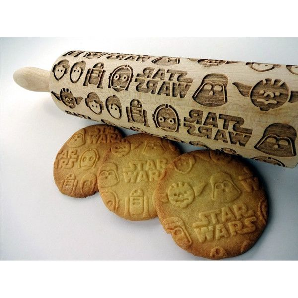 Star Wars Embossing Rolling Pin Wooden Laser Engraved Rolling Pin