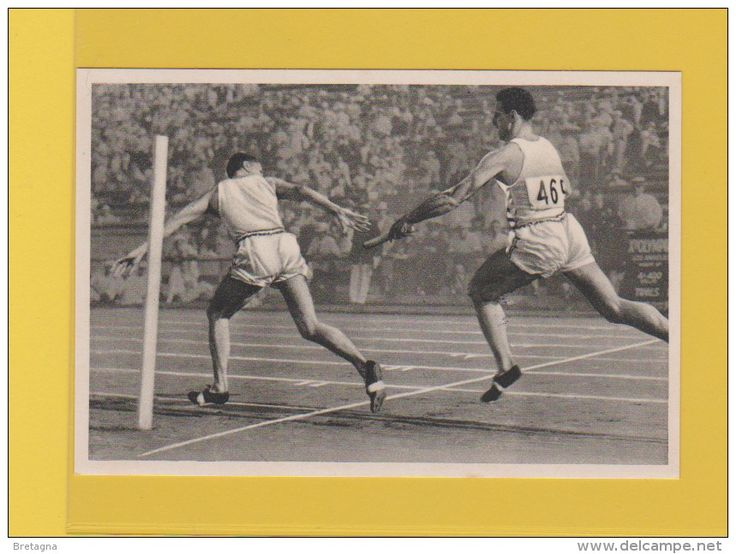 image jeux olympiques de 1932 - le dernier changement dans le relais 4 x 400 mètres : Warner donne le bâton