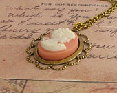 He Loves Me Charm Necklace with Bow and Antique Brass Chain Pink Gold Flower Vintage Style Jewellery. £12.00, via Etsy.: Brass Chain, Flower Vintage, Flowers Vintage, Gold Flowers, Style Jewellery, Vintage Style