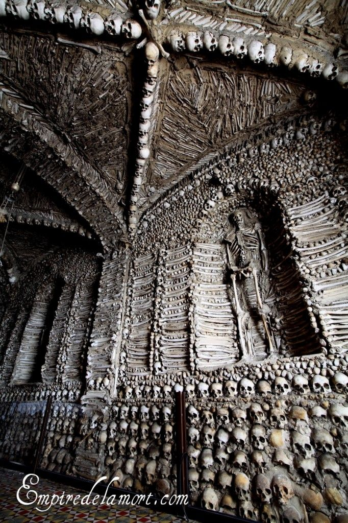 "Campo Maior, Portugal ossuary chapel (Capela dos Ossos)  ""One of the most architecturally literate of all bone chapels, and for its size very impressive."" (Impressive, yes. Do I want to see it up close? No.)"