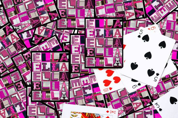 Personalized Playing Cards featuring the name ELLA in photos of PINK sign letters