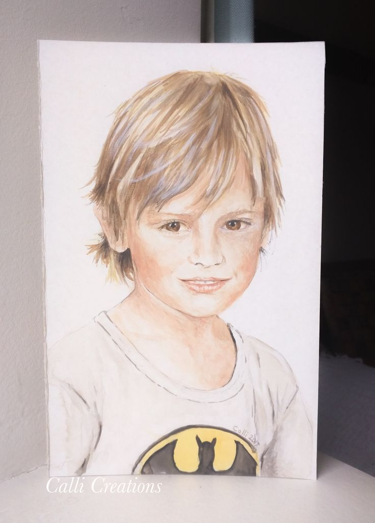 Watercolour on card. Portrait of son when he was 4.  #watercolour #portrait #painting #callicreations #callicreation