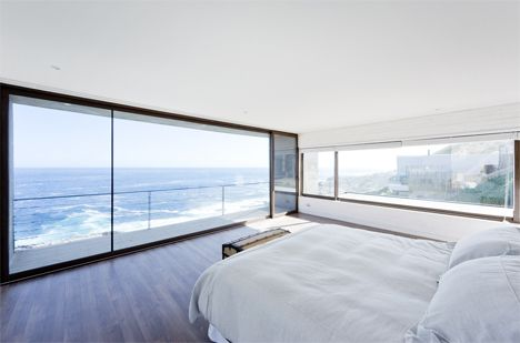 beautiful #bedroom with ocean views in this modern Chile #house