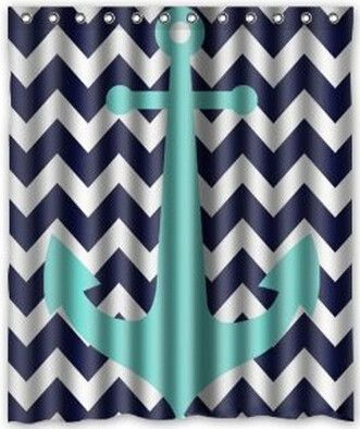 good for girl or boy! turqouise lends to bringing a bit of girly to it but not too much Blue/Turquoise Anchor Fabric Bathroom Shower Curtain