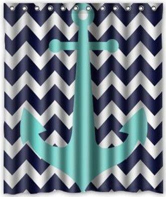 Blue/Turquoise Anchor Fabric Bathroom Shower Curtain