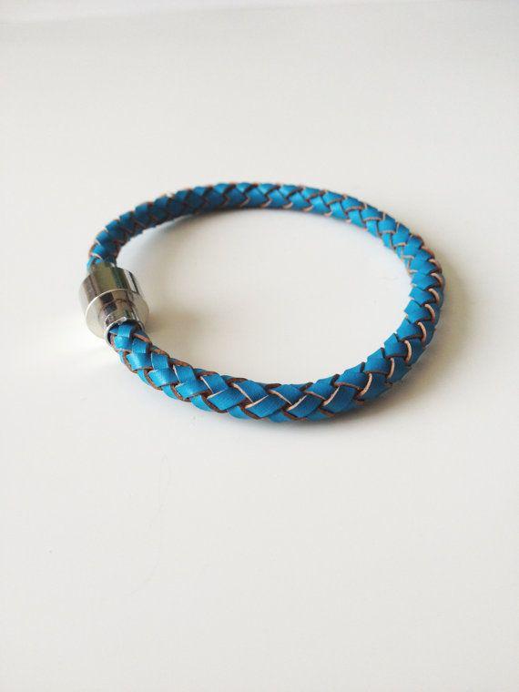 Blue Leather Bracelet with Magnet Clasp Blue by LittleGemsByLuisa