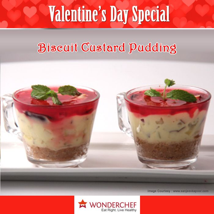 Biscuit Custard Pudding - Enjoy this unique pudding recipe with fruit mixed custard by Chef Sanjeev Kapoor !!