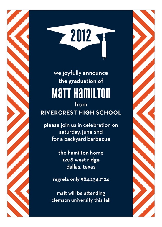 A bold graduation invitation that would be perfect for a boy.