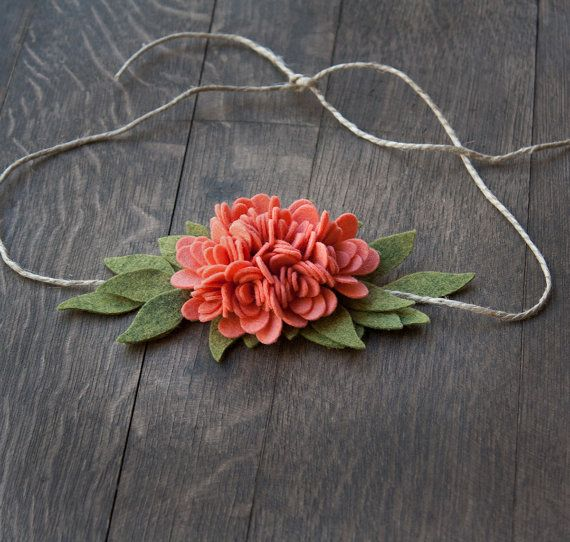 Coral Felt Flower Tie Back Headband by SugarSnapBoutique on Etsy