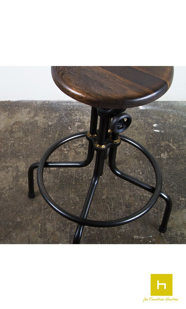 The L'Usine Counter Stool combines original cast iron collars influenced by industrial furniture with hand brazed metal joinery by in-house craftsmen. #furniturehunters #industrialdesign #furnituredesign