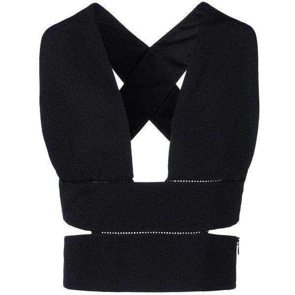 Stella McCartney Stretch Cady Top ($575) ❤ liked on Polyvore featuring tops, crop tops, shirts, crop, black, sleeveless tops, cutout crop top, black sleeveless shirt, black crop top and cut-out shirts