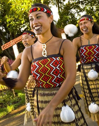 Aotearoa (NZ) young women in traditional/ceremonial dress - Polynesian Cultural Center