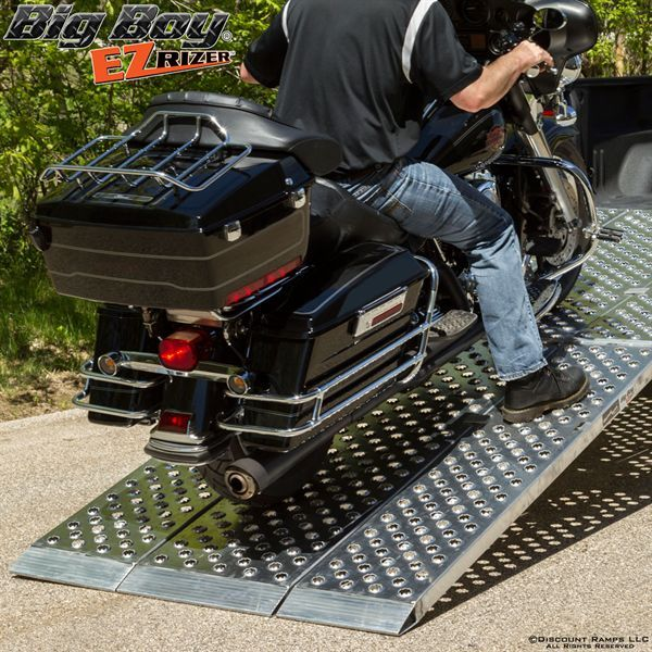 NEW from Discount Ramps: Big Boy EZ Rizer™ 3-Piece Folding Aluminum Motorcycle Ramp System, the widest motorcycle ramp on the market! Featuring EZ Traction, our own exclusive surface design for superior grip and worry-free loading. Now at a special introductory price!