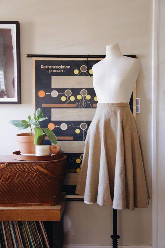 50s Wool Boucle Full Skirt XS XXS