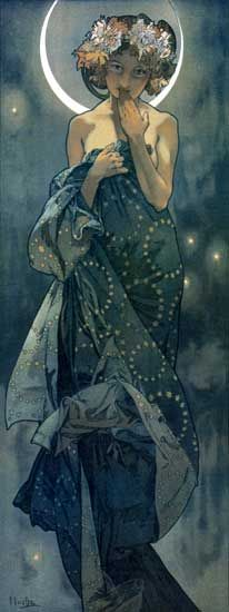alphonse mucha - moon   Now here is some art I would LOVE to see in my home or office!