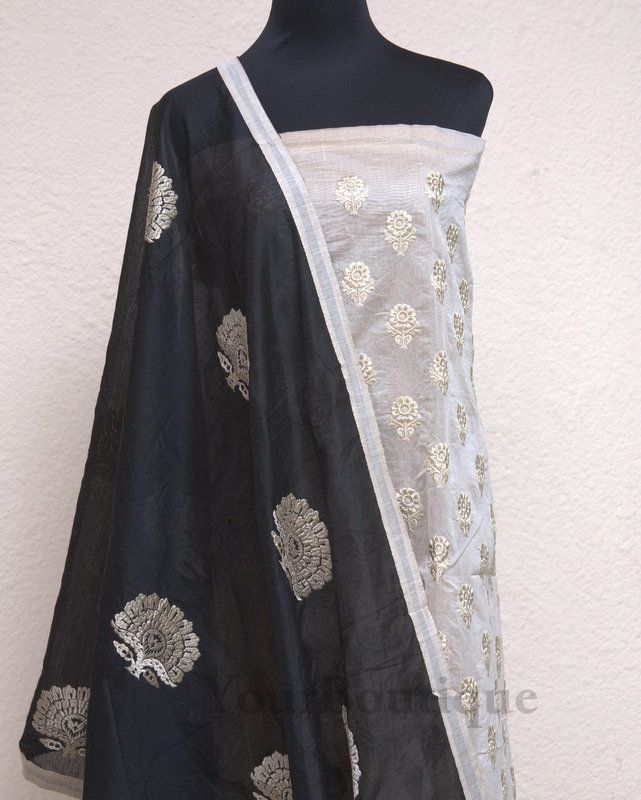 PK068-5 Chanderi silk top with emroidery flower work. Black cotton bottom. Black dupatta with embroidery and border work.