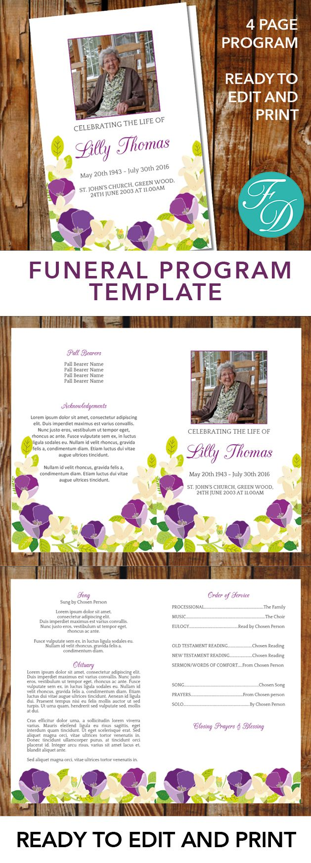 Purple Printable Funeral program ready to edit & print. Simply purchase your funeral templates, download, edit with Microsoft Word and print. #obituarytemplate #memorialprogram #funeralprograms #funeraltemplate #printableprogram #celebrationoflife #funeralprogamtemplates