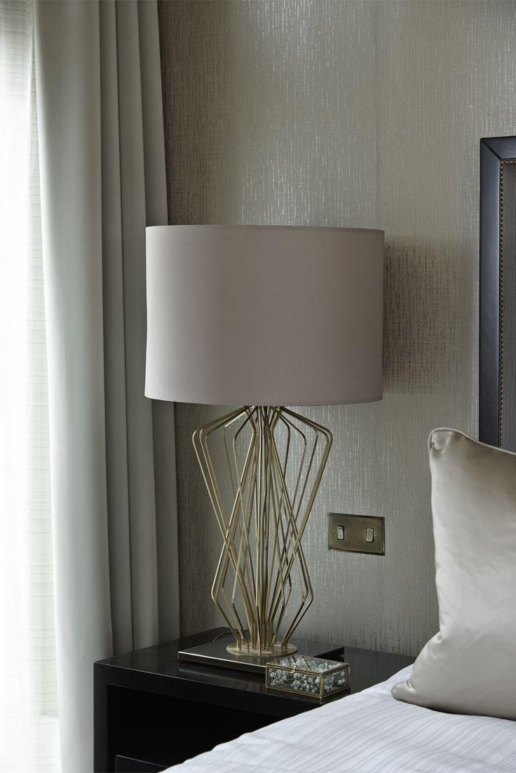 Boscolo Interior Design - Mayfair Apartment - Master Bedroom #interiordesign #bed #bedside table #lamp