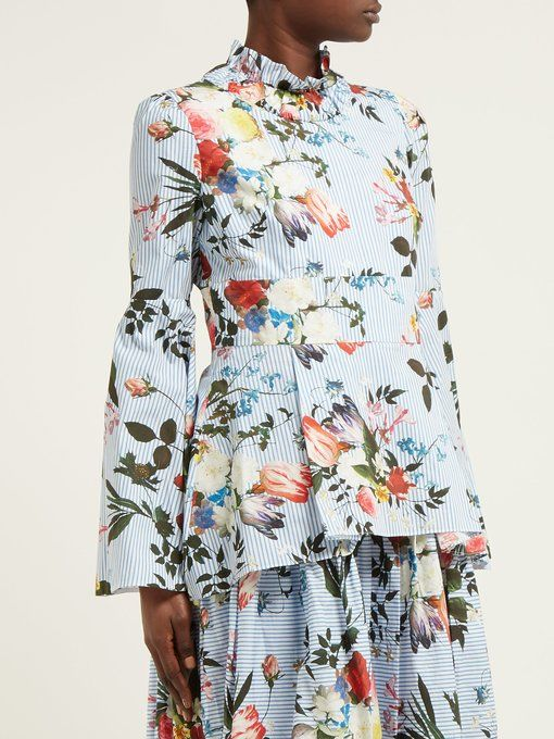 9ced677356f0fb Bell Sleeves · Blue And White · Peplum · GABRIELLE'S AMAZING FANTASY CLOSET  | ERDEM.S